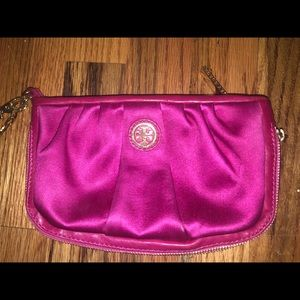 Tory Burch pink satin and leather wristlet